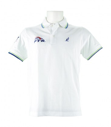 Polo bianca Australian con logo PTR - Colletto a righe